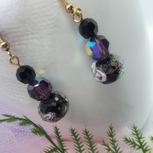 Handmade Jewelry - Purple Glass Beads Earrings